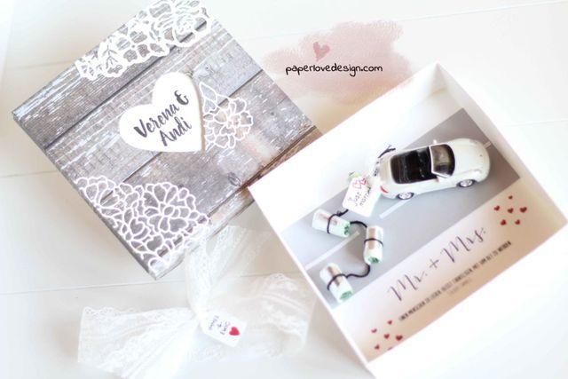 geschenkidee zur hochzeit just married modellauto mit gelddosen. Black Bedroom Furniture Sets. Home Design Ideas
