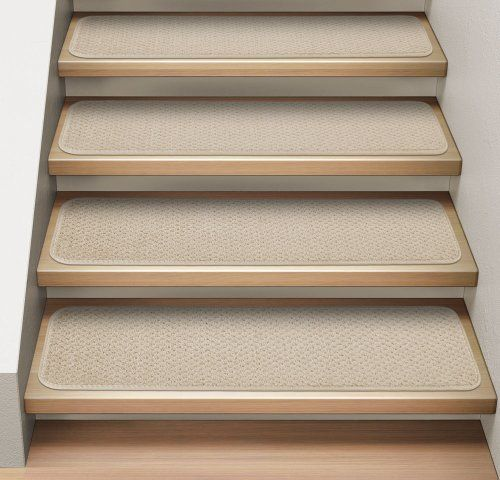 Best Set Of 12 Attachable Indoor Carpet Stair Treads Ivory 400 x 300