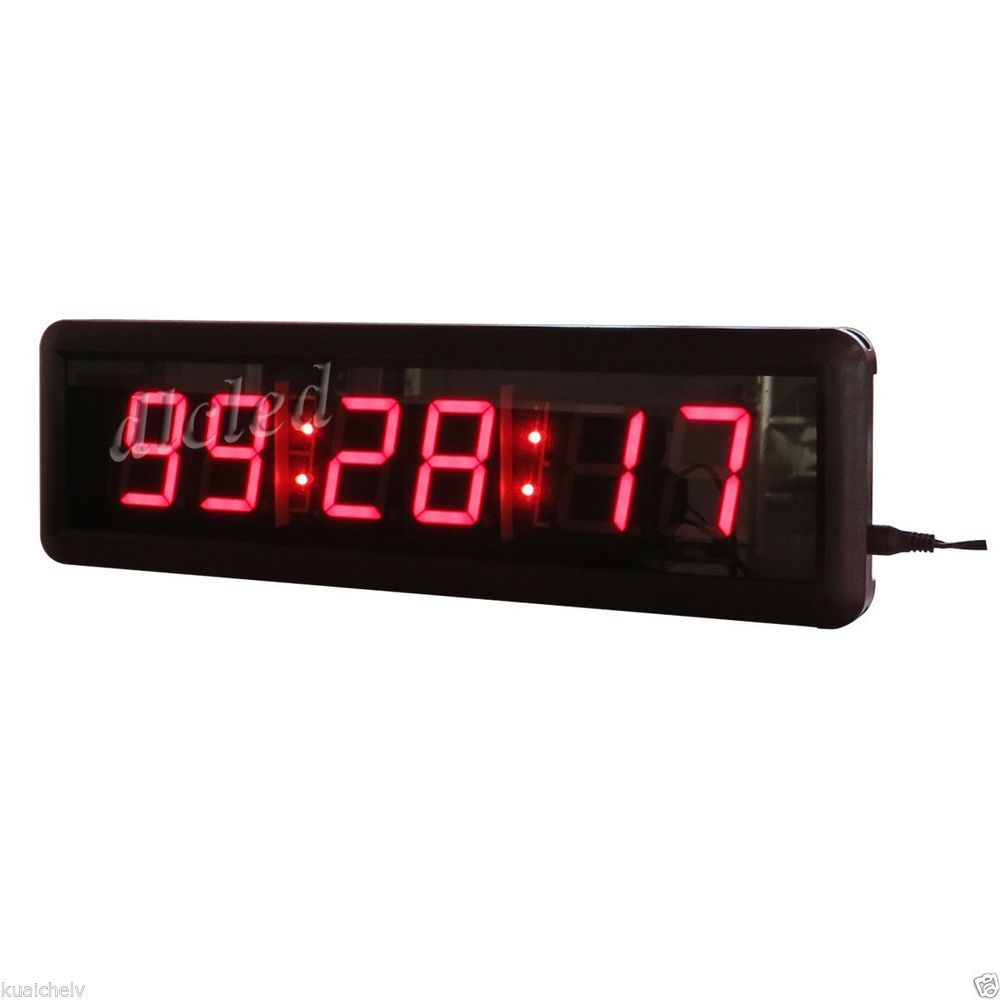 Red Color 1 8 Led Wall Clock Hours Minutes Seconds Format With Countdown Up Dlc Led Wall Clock Clock Led