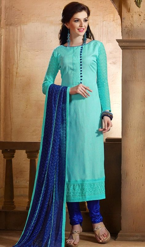 6606a9afa2dd Become iconic in this sky blue color cotton silk churidar dress. The ...