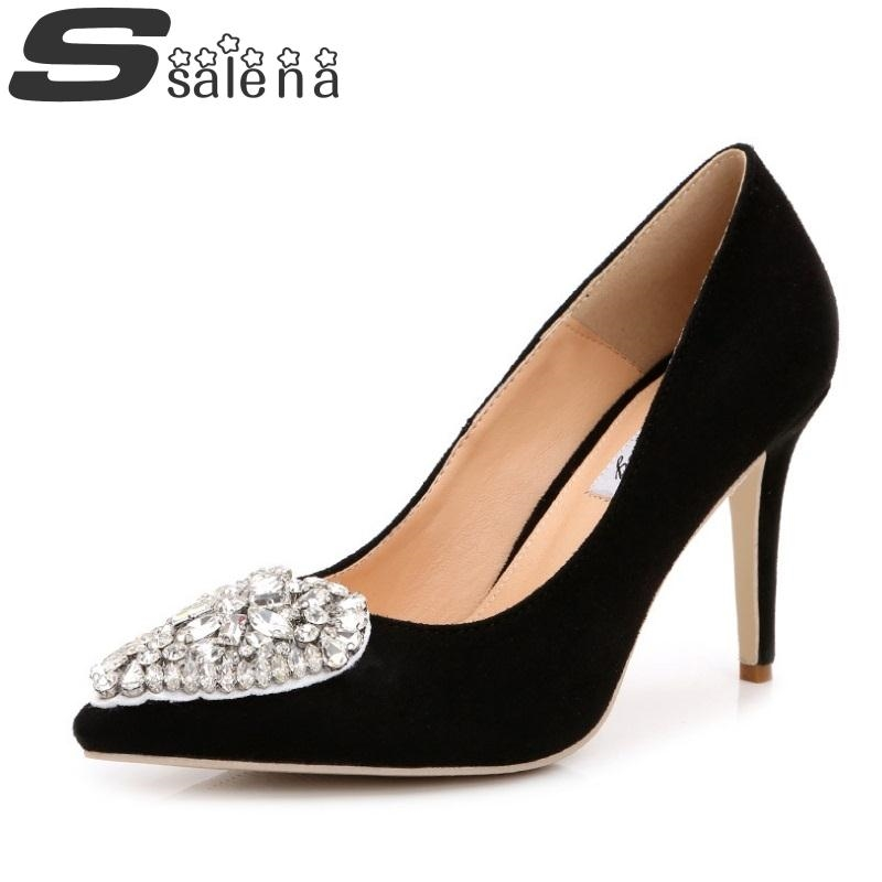34.71$  Watch here - http://alifsn.shopchina.info/go.php?t=32590626286 - Sapato Feminino Sexy Women Pumps New High Heels Shoes Woman High Quality Rhinestone Wedding Shoes Big Size EU 43 #B2459  #buymethat