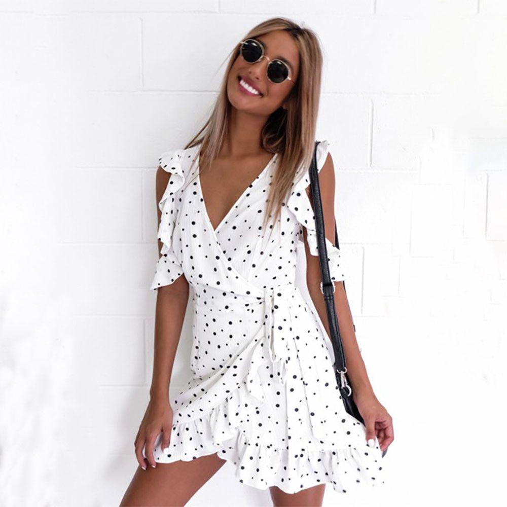 Charlee cooper white polka dot v neck frilly side tie mini dress