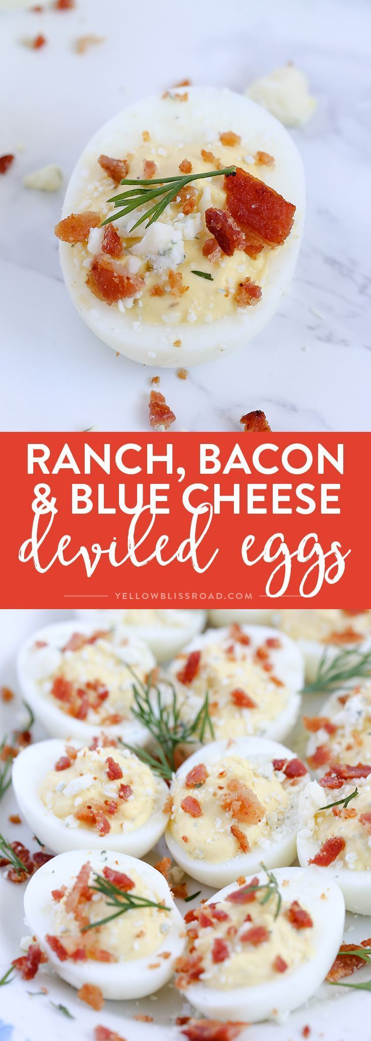 Photo of Ranch, Blue Cheese & Bacon Deviled Eggs