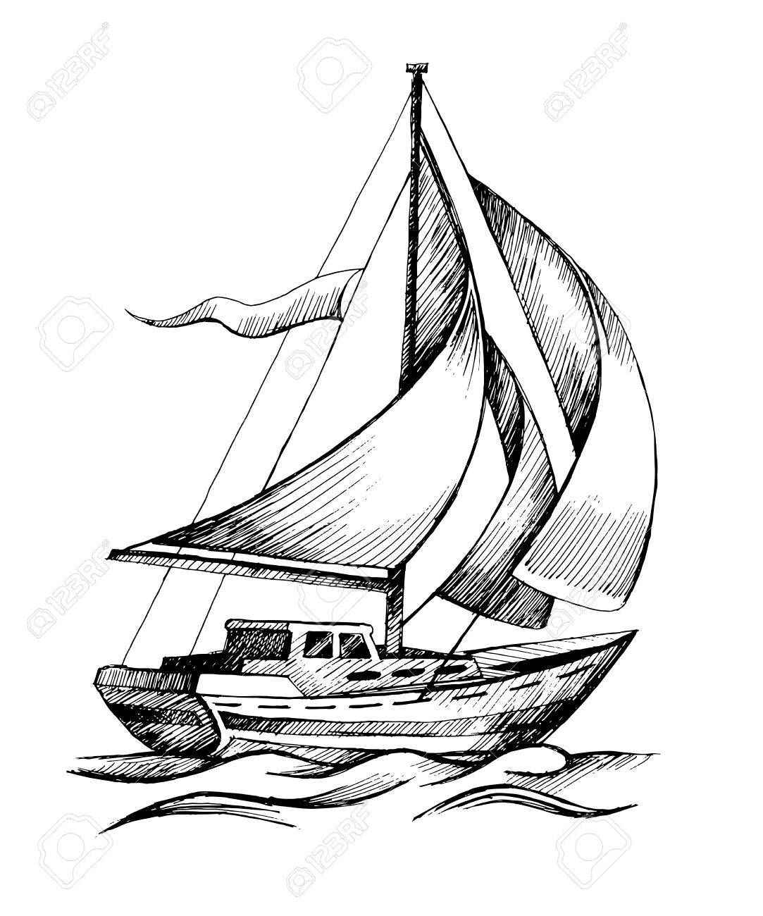 Sailboat Drawing Sketch Sailing Ship Vector Sketch Isolated With