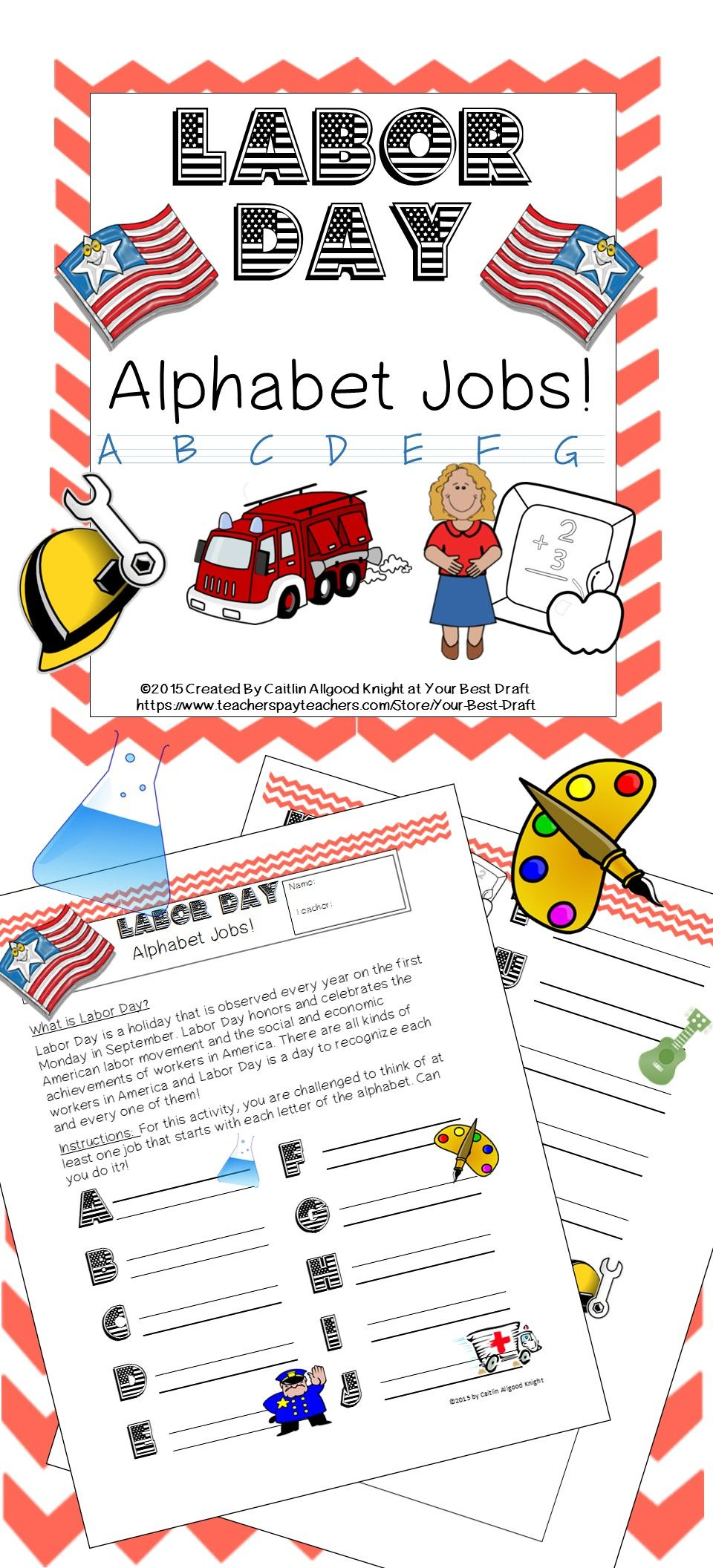 Labor Day Activity for 1st and 2nd Grade: ABC Alphabet Jobs   Activities [ 2112 x 960 Pixel ]