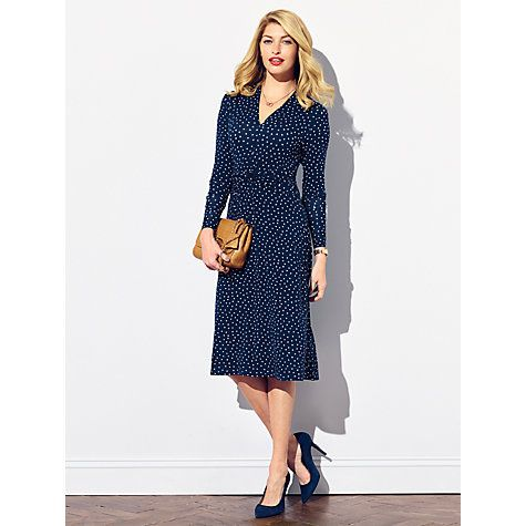 Buy Pure Collection Bilton Gathered Jersey Dress, Navy Spot Print Online at johnlewis.com