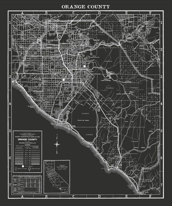 picture regarding Printable Map of Orange County Ca identify Orange County map print : Black and White classic Orange