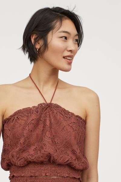 H&M Lace Tube Top - Orange #tubetopoutfits