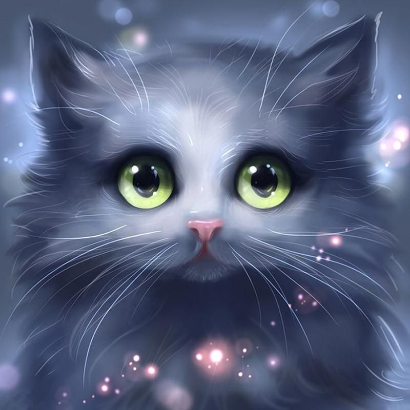 5d diy diamond painting cartoon soft gray cat craft kit