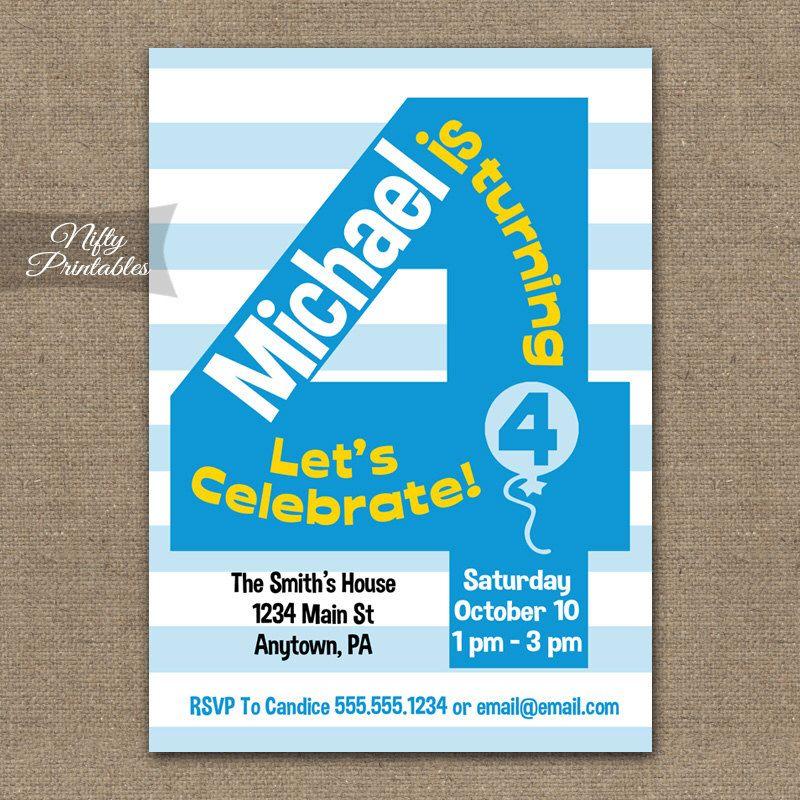 4th Birthday Invitations Printable Boys Invitation Four Year Old Party