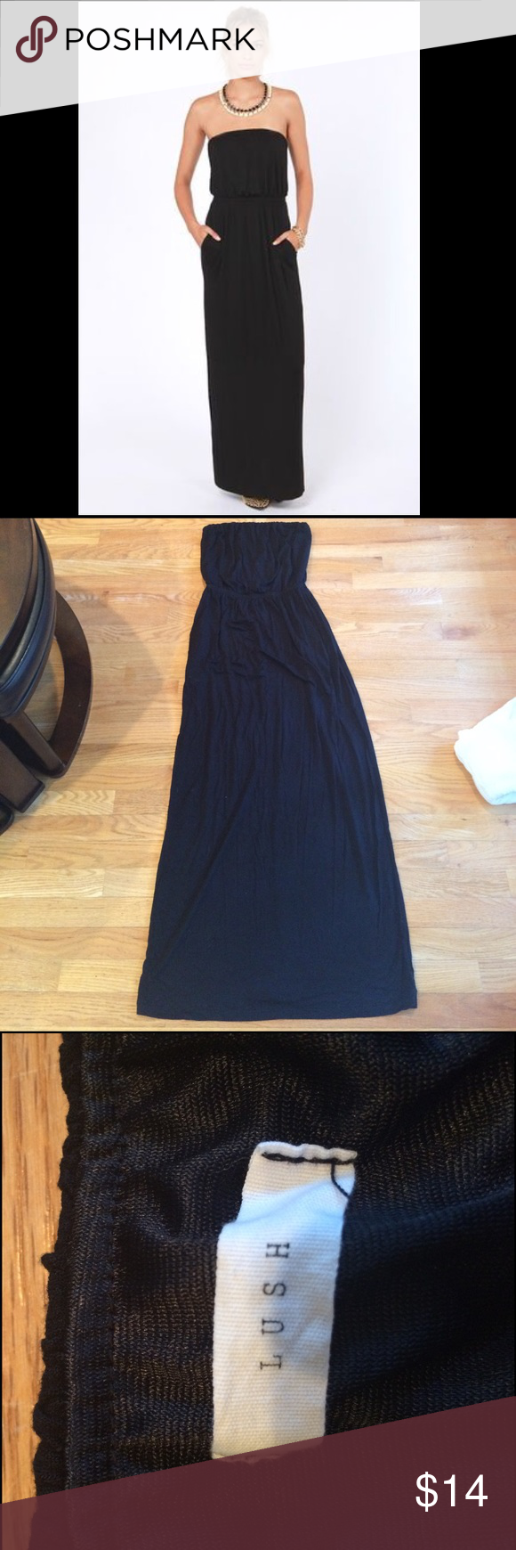 Luluus black strapless maxi dress with pockets strapless maxi