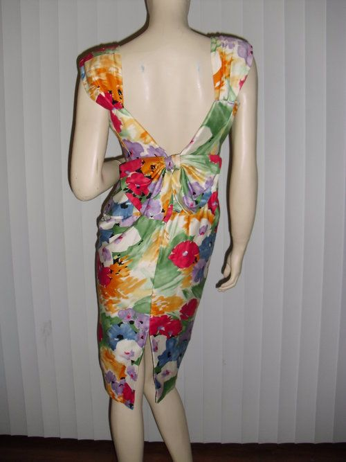 GENUINE AJ Bari watercolor floral sexyback cocktail dress - $58