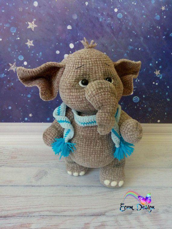 Elephant Monya - Amigurumi Crochet Pattern PDF file by Elena Akkoca (Ecem Design)