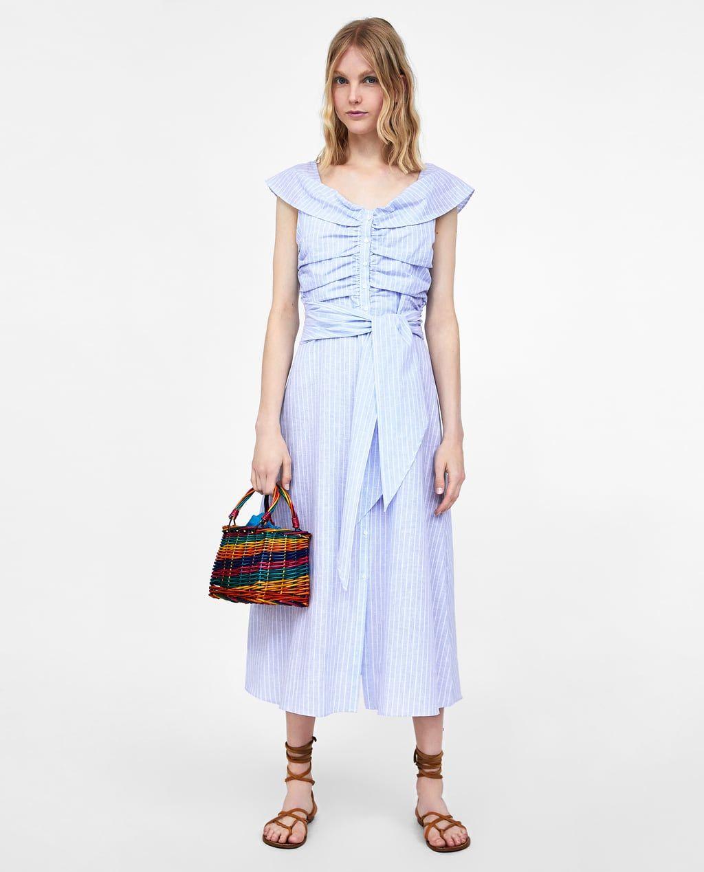 zara - woman - striped off-the-shoulder dress | zara kleider