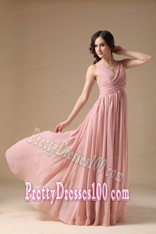 Elegant V-neck Pink Long Ruched Holiday Party Outfits with Straps ...