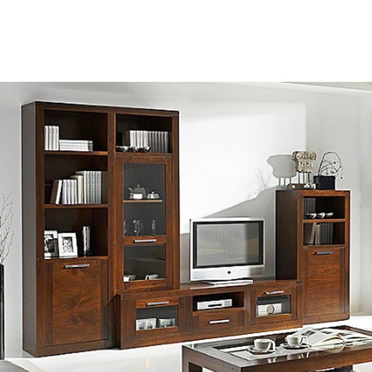 Muebles de sal n con mueble de tv nogal decor ideas en - Nogal americano muebles ...