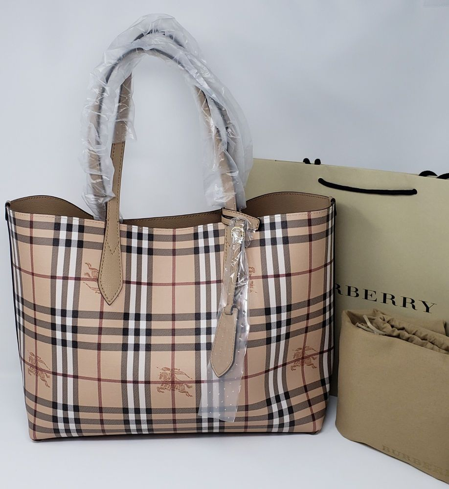 d14dced20c60 NEW Burberry Haymarket Check Leather Reversible Tote Bag Mid Camel  fashion   clothing  shoes  accessories  womensbagshandbags ...