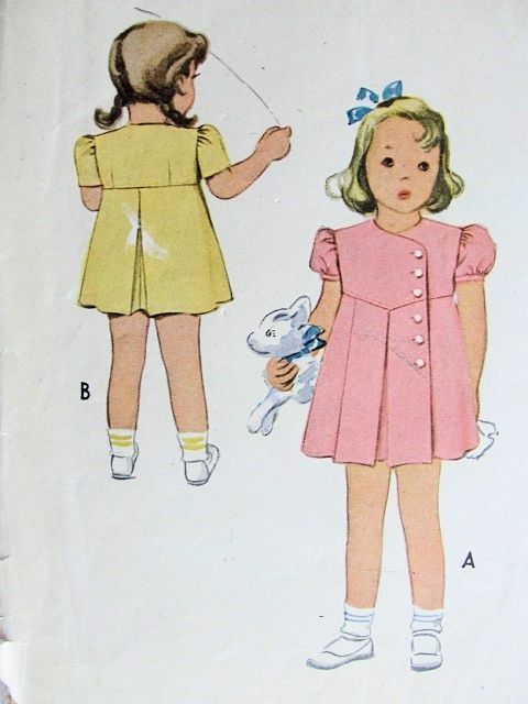 ADORABLE VINTAGE 1940S MCCALL CHILD'S DRESS PATTERN #6012
