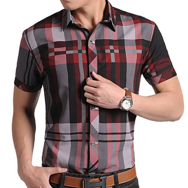 >> Click to Buy << Red Plaid Shirt Mens 2017 Summer New Fashion Short Sleeve Red Checkered Shirts Free Shipping #Affiliate