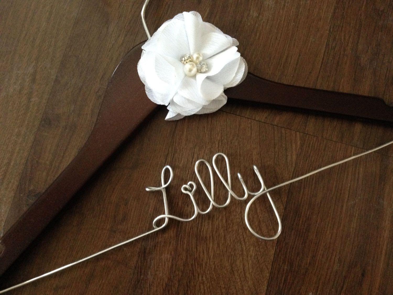 Flower Girl Hanger, Wedding Hanger, Bride Hanger, Custom Name Hanger, Flower Girl Gift, Childrens Hanger, Kid Hanger by DeighanDesign on Etsy https://www.etsy.com/listing/150593637/flower-girl-hanger-wedding-hanger-bride