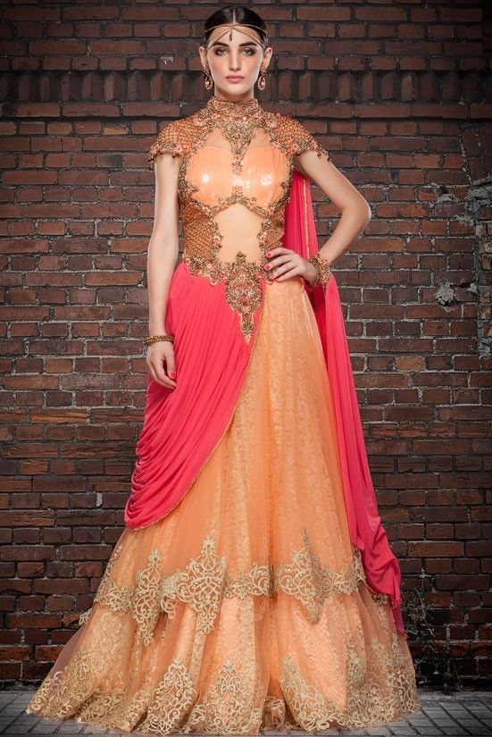 Buy Exotic Apricot and Salmon Pink Gown   Gowns   Pinterest   Pink ...