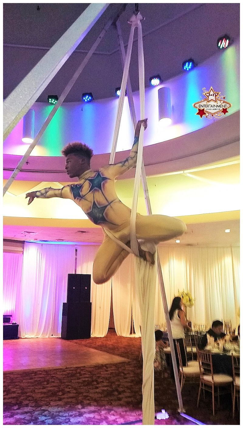 Male aerial silks artist provided by J&D Entertainment in Houston, Texas.  aerialist, circus performer, cirque www.jdentertain.com