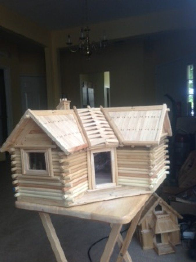 Popsicle Stick Log Cabin Designs | Hand Made Wood House In Popsicle Sticks/  LOG CABINS