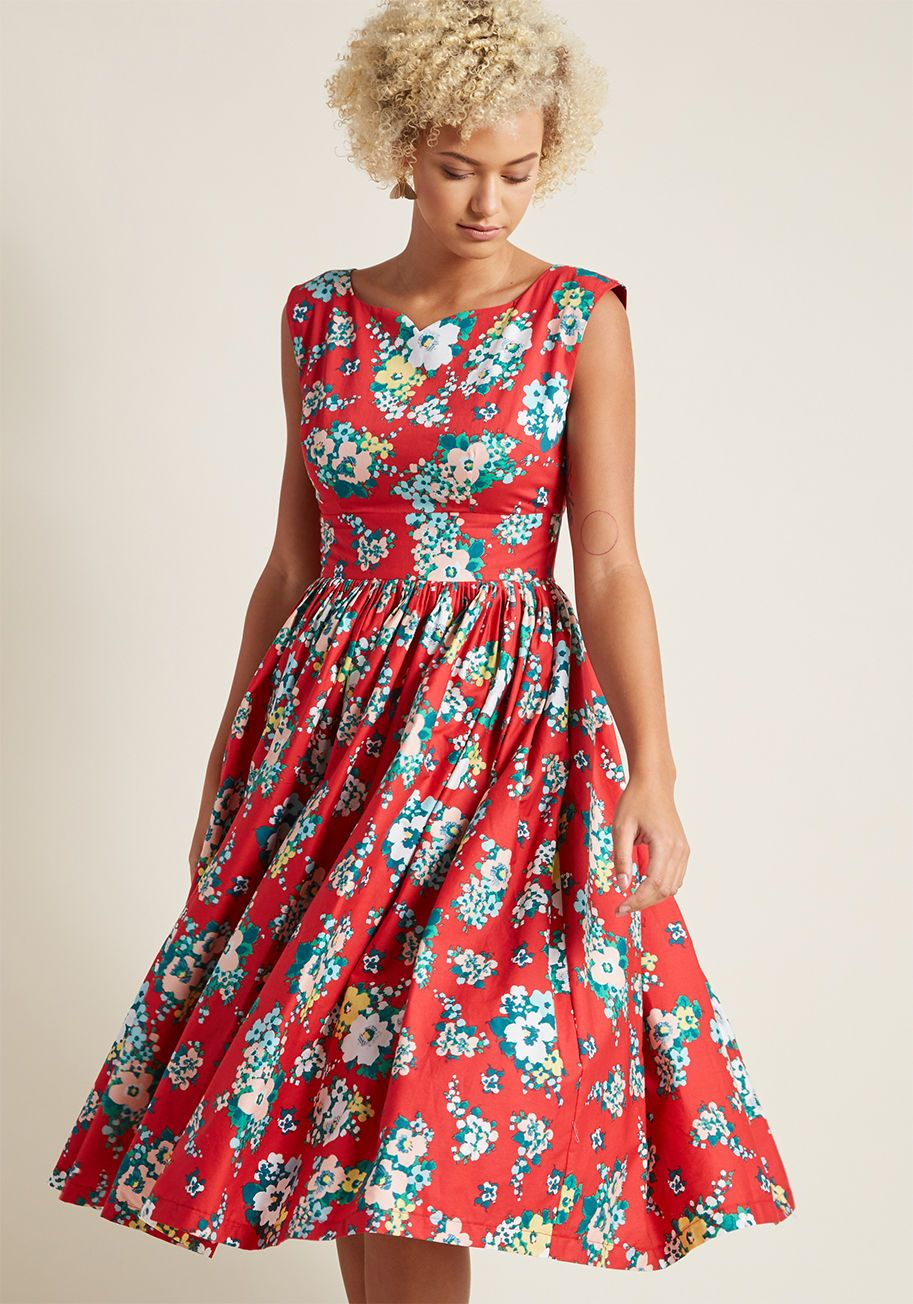 57a3cc8e7031 Fabulous Fit and Flare Dress with Pockets in Red Floral in 2X, #ModCloth