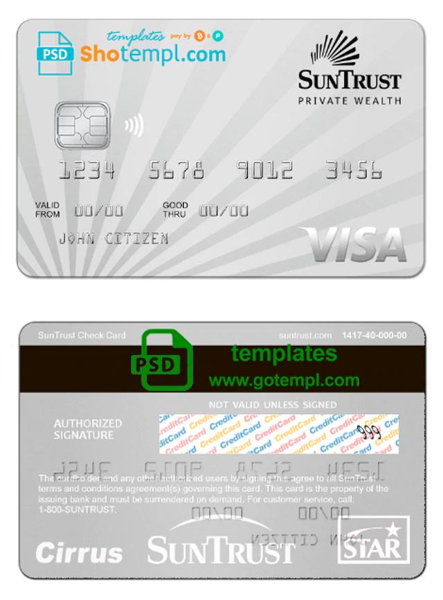 Usa Suntrust Bank Visa Card Template In Psd Format Fully Editable Credit Card Make Business Cards Card Template