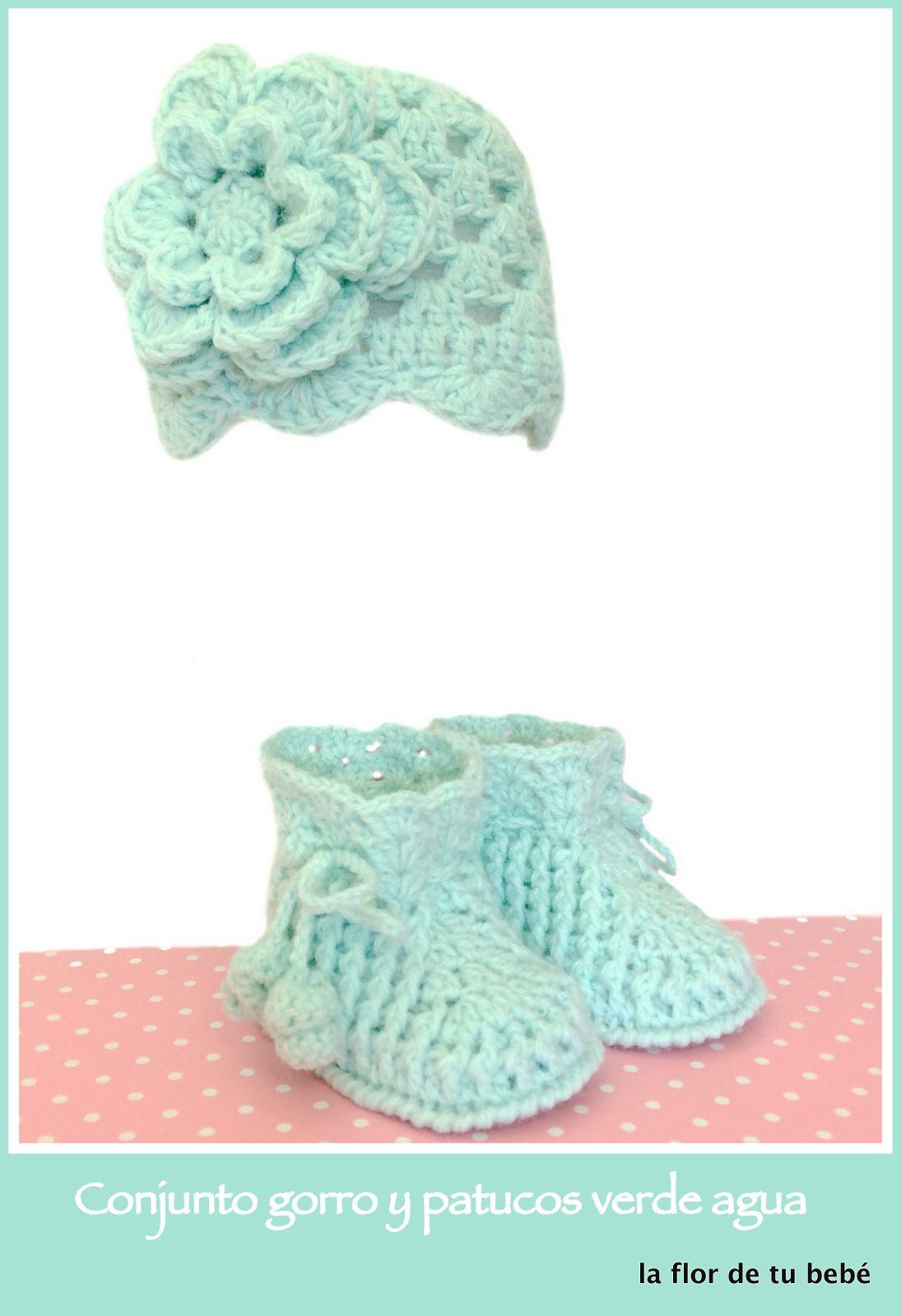 Ideal gorro de lana a #crochet con flor y patucos verde agua ...