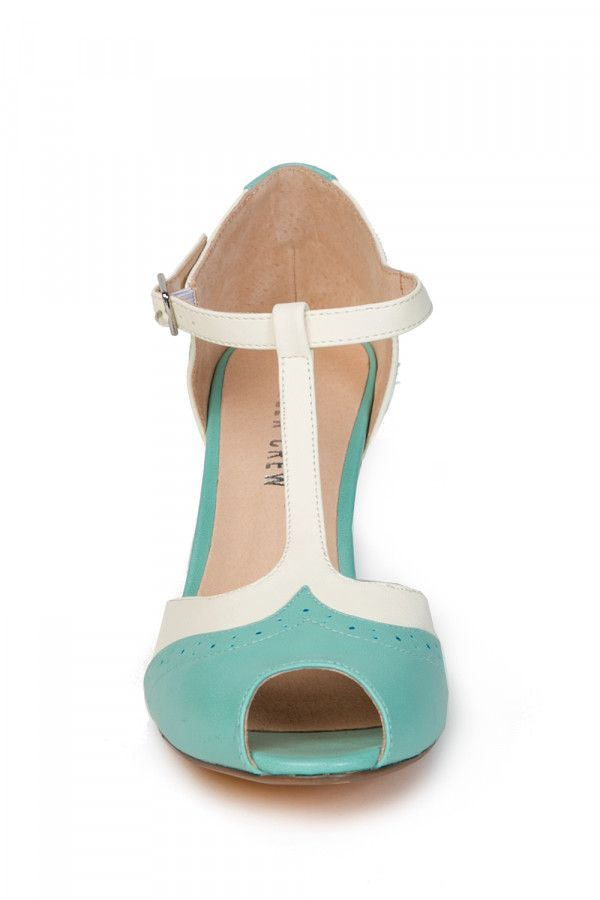 Giselle T-Strap Heel in Mint and White