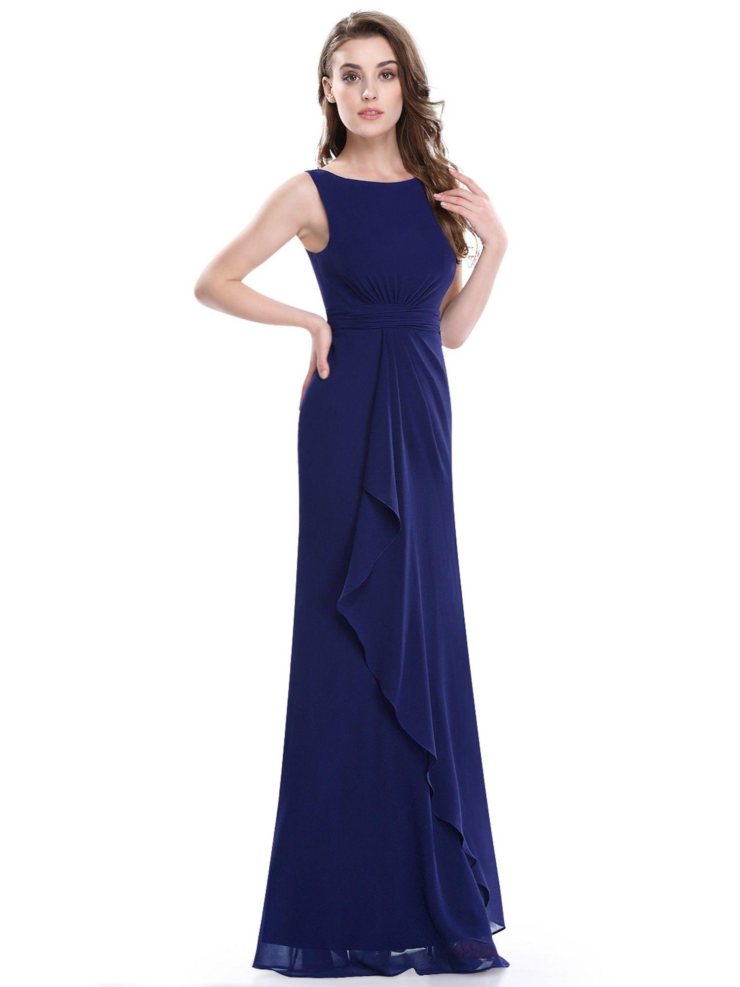Sleeveless Floor Length Ruched Waist Evening Dress   Ever ...
