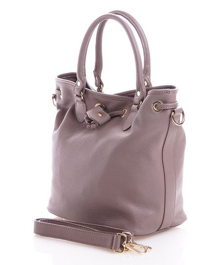 Pelleterie Lisa Taupe Leather Bucket Bag | zulily