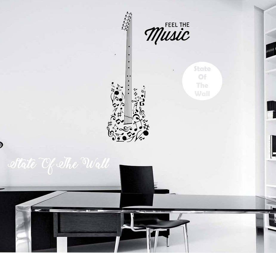 Guitar Wall Decal Feel The Music Quote Vinyl Sticker Art Etsy Wall Decals Sticker Art Guitar Wall