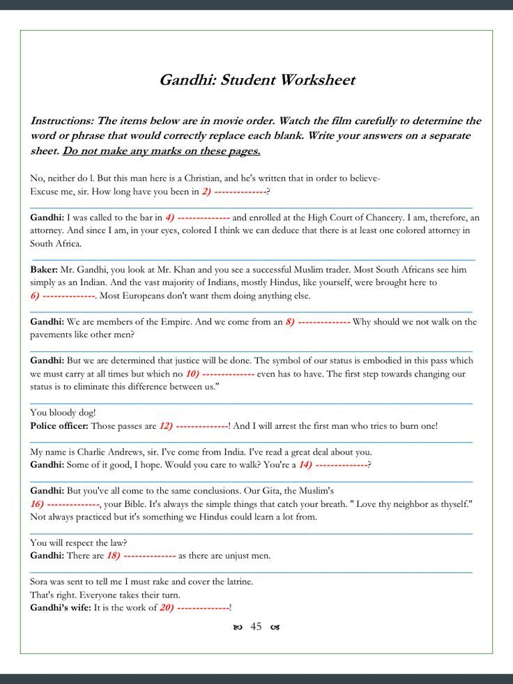 Gandhi Movie Worksheets 123 ClozeFillin Problems – Gandhi Movie Worksheet