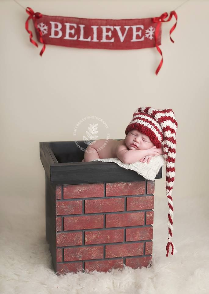 Christmas chimney prop newborn photography props