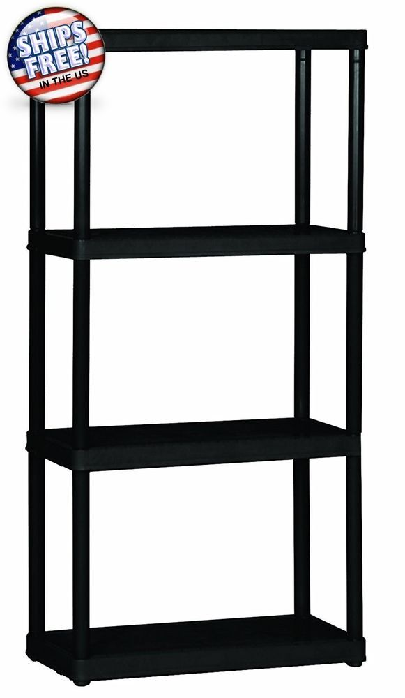 Light Duty Garage Shelves Rack 4 Metal Shelf Unit Black 24 X 48 X 12 Unique Graciousliving Plastic Storage Shelves Plastic Shelving Units Shelving Unit