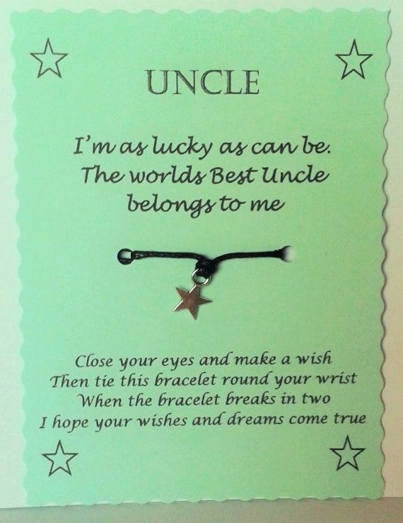 uncle gift wish bracelet uncle bracelet uncle birthday gift best uncle christmas gift gift for uncle stocking filler uncle xmas gift diy
