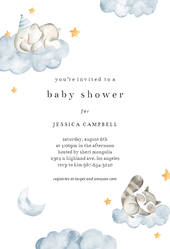 Fluffy Clouds Baby Shower Invitation Template Greetings Island Blue Baby Shower Invitations Printable Baby Shower Invitations Gender Neutral Baby Shower Invitations