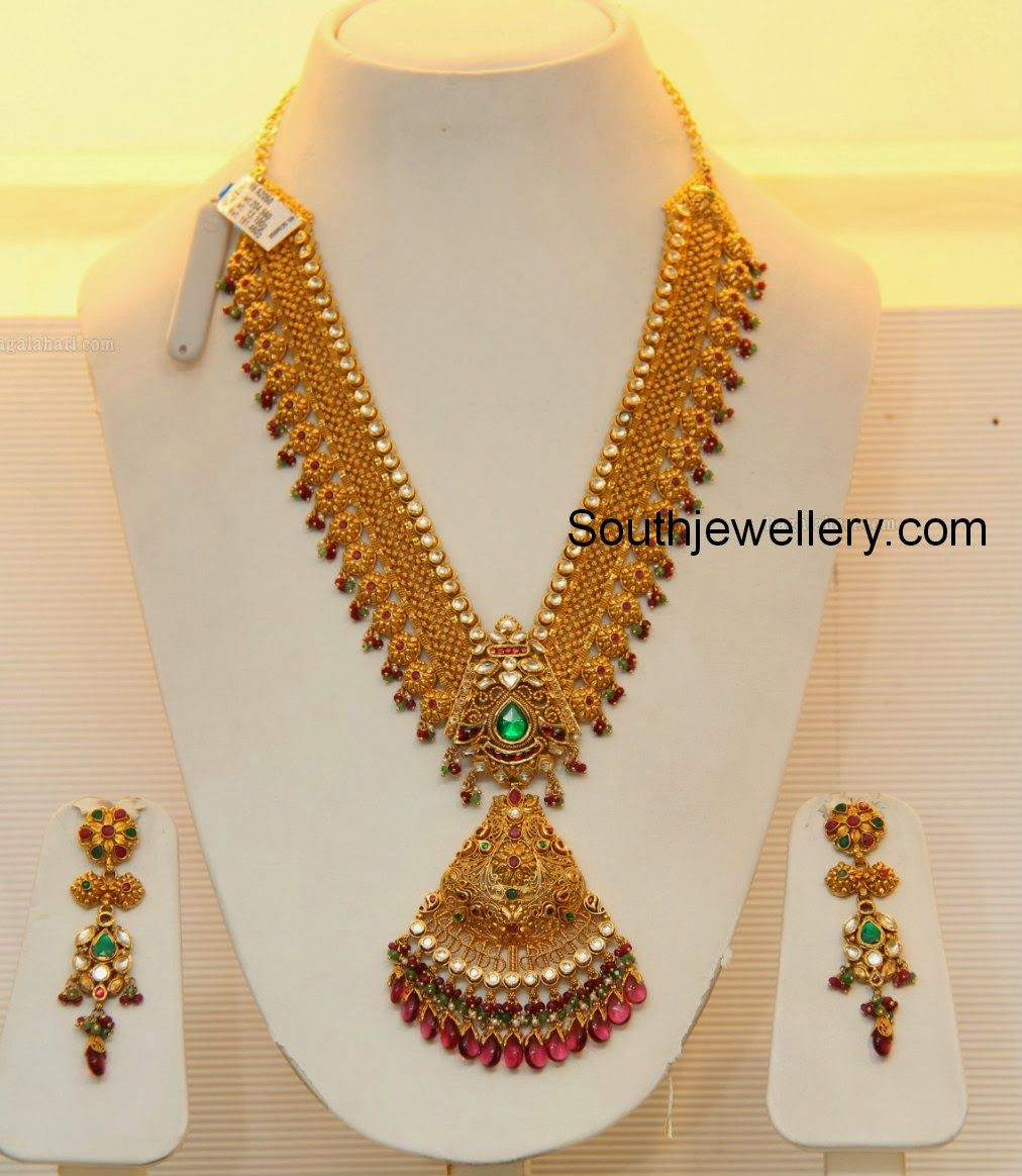 Bridal gold necklace by grt jewellers latest jewellery designs
