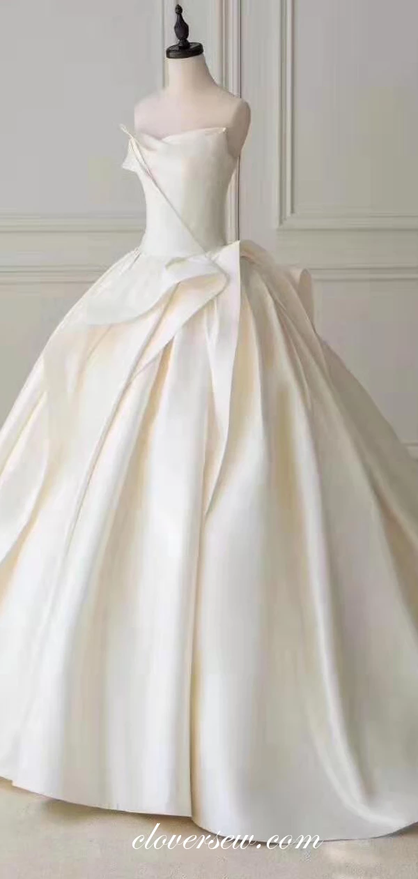 Ivory Satin Classical Strapless Pleating Ball Gown Wedding Dresses, CW0071
