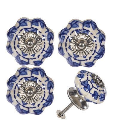 look at this zulilyfind blue white ceramic knob set of four rh pinterest com