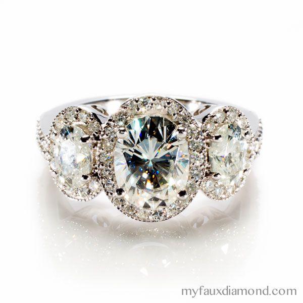 MoissaniteThree Stone Oval Cut Halo Engagement RingMy Faux Diamond