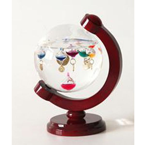 Amazing Home Decor Widgets: Globe Galileo Thermometer On Wood Axis Stand
