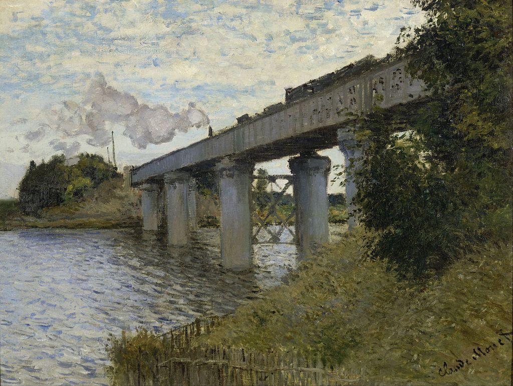 Claude Monet, Le Pont de chemin de fer à Argenteuil, 1874, 54 × 71 cm, Musée d'Orsay, Paris.