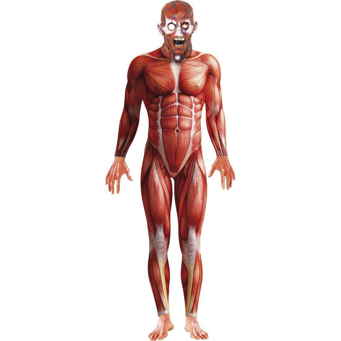 anatomie kost m ganzk rperanzug rot second skin zweite haut stretchanzug faschingskost me. Black Bedroom Furniture Sets. Home Design Ideas