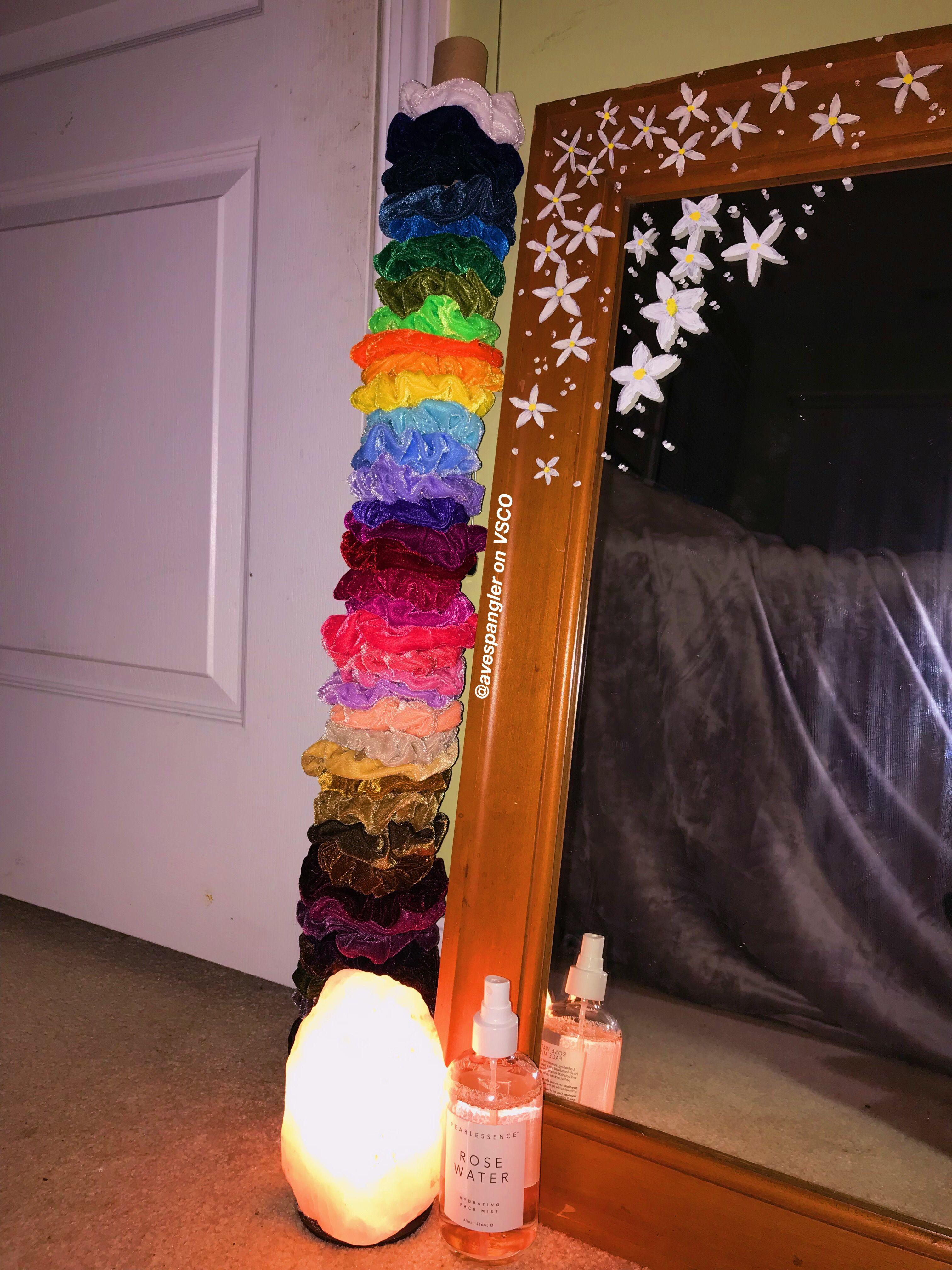 Scrunchies Painted Mirror Aesthetic Vsco Pearlessence Rose Water Salt Lamp Painted Flowers Avespangler On Pinter Mirror Painting Room Decor Room Decor Bedroom