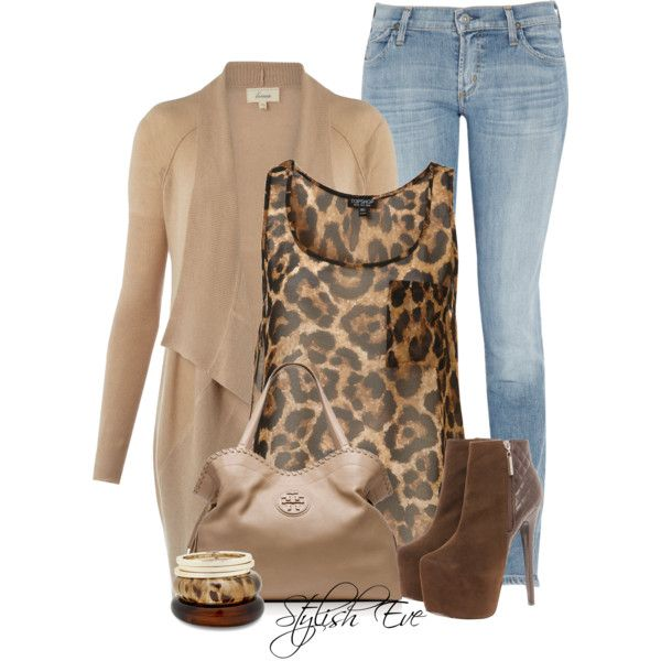 "Leopard, Beige / Nude, Brown, Light Blue Jeans Outfit ""Alaa."" by stylisheve on Polyvore"