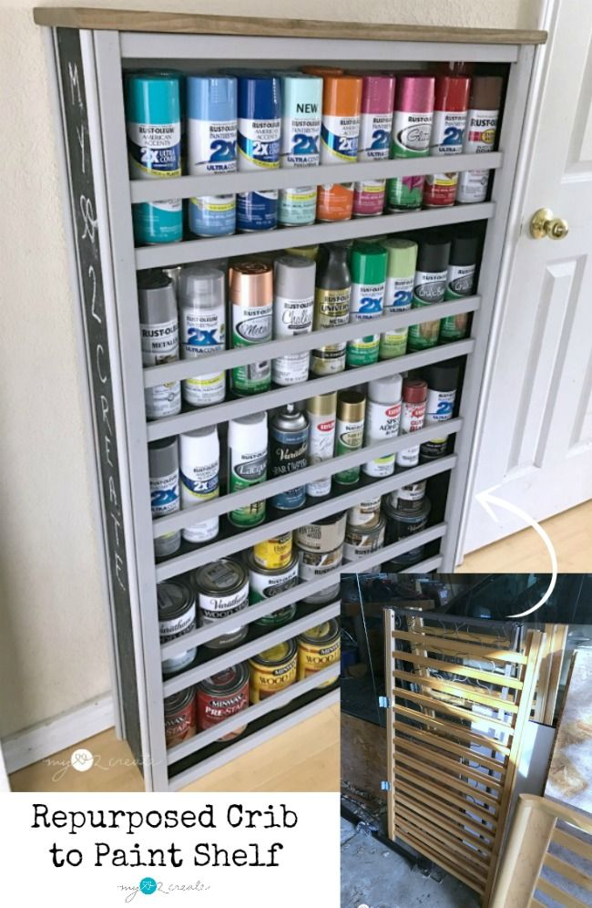 Check out this awesome Repurposed Crib Paint Shelf with a full picture tutorial on how to make your own!  MyLove2Create