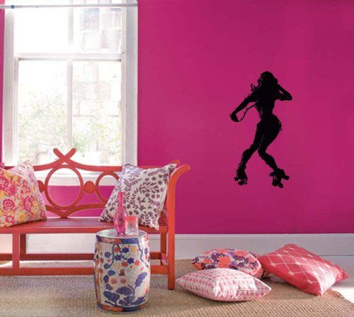 Wall Vinyl Decal Sticker Art Design Roller Girl Street Sport Gym ...